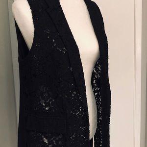 ELLE | Long Black Lace Vest